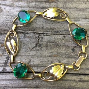 Vintage Emerald glass & gold filled leaf bracelet
